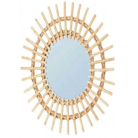 Espejo Pared Circular de Ratán Natural, Espejos Decorativos Originales. Decoración Dormitorio/Salón 57x43cm