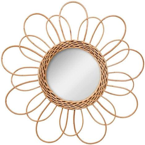 Espejo Pared Circular de Ratán Natural, Espejos Originales Decorativos. Decoración Dormitorio/Baño ø38 cm