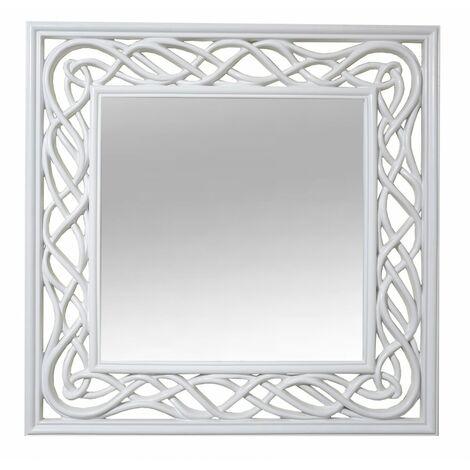 Espejo Pared Decorativo Cuadrado, de Resina, color Blanco, para Dormitorio. Diseño Vintage, con estilo Original - Hogar y Más