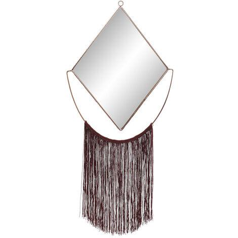 Espejo Pared Decorativo, de Metal, color Dorado, con Flecos, para Dormitorio. Diseño Original, con estilo Moderno - Hogar y Más Color - Rojo