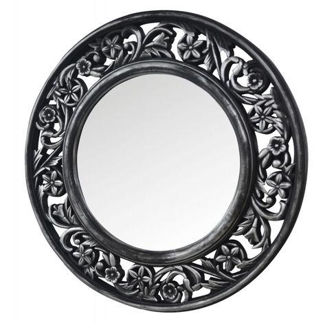 Espejo Pared Decorativo Redondo, Color Plateado, Acabado envejecido. Espejo para Dormitorio, Salón Diseño Floral/Vintage ø51 cm
