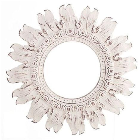 Espejo Pared Decorativo Redondo, de color Blanco, ideal para Salón/Dormitorio. Diseño Árabe, con estilo Vintage - Hogar y Más
