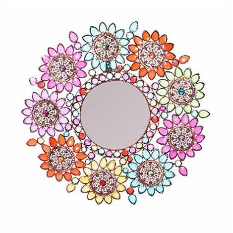 Espejo Pared Decorativo Redondo, Multicolor, de Metal, ideal para Dormitorio. Diseño Floral, con estilo Vintage- Hogar y Más