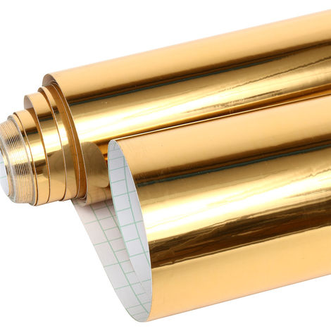 Espejo pared ventana papel decoración autoadhesivo autoadhesivo oro 10mX60cm Oro Sasicare