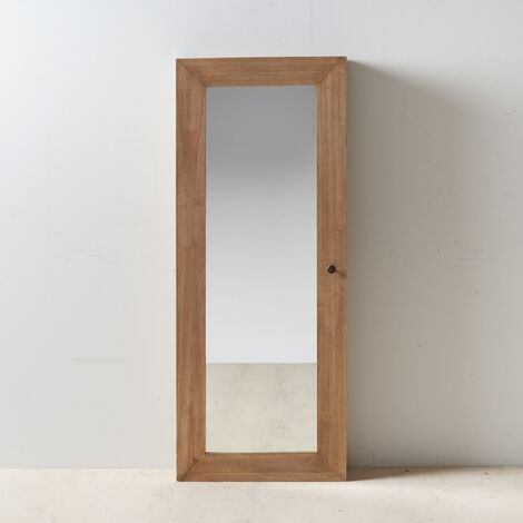 Espejo recibidor natural madera mindi 60 x 18 x 150 cm Rogal