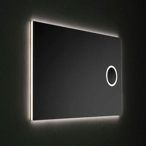 ESPEJO RECTANGULAR DE 120X70 CM CON LUPA REVERSIBLE CON RETROILUMINACIÓN LED