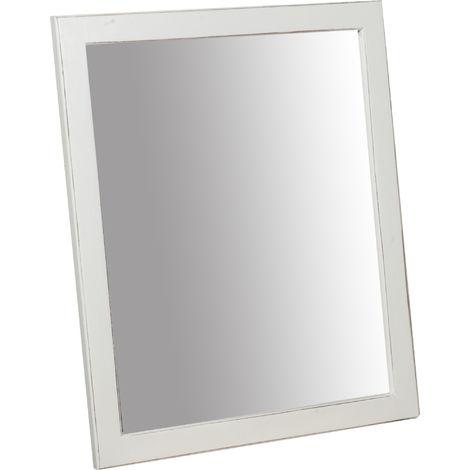 Espejo rectangular de madera maciza de tilo acabado con efecto blanco envejecido 48 x3x58 cm Made in Italy