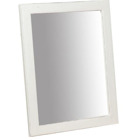 """main image of """"Espejo rectangular de madera maciza de tilo acabado con efecto blanco envejecido Made in Italy"""""""