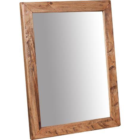 Espejo rectangular de madera maciza de tilo acabado con efecto blanco envejecido Made in Italy