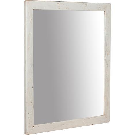 Espejo rectangular de madera maciza de tilo acabado con efecto crema 48 x3x58 cm Made in Italy