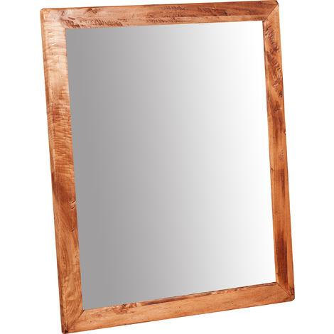 Espejo rectangular de madera maciza de tilo acabado con efecto natural 48x3x58 cm Made in Italy