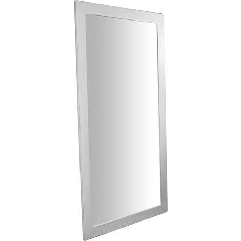 Espejo rectangular de pared de colgar de madera maciza de tilo acabado con efecto blanco envejecido 100x3x200 cm Made in Italy