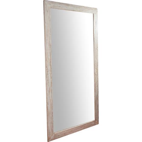 Espejo rectangular de pared de colgar de madera maciza de tilo acabado con efecto crema 100x3x200 cm Made in Italy