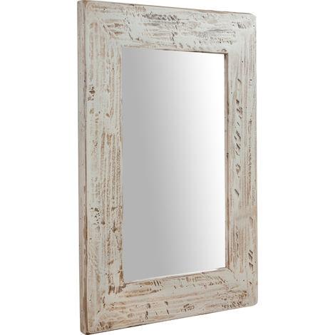 Espejo rectangular de pared de colgar de madera maciza de tilo acabado con efecto crema 50x3x70 cm Made in Italy