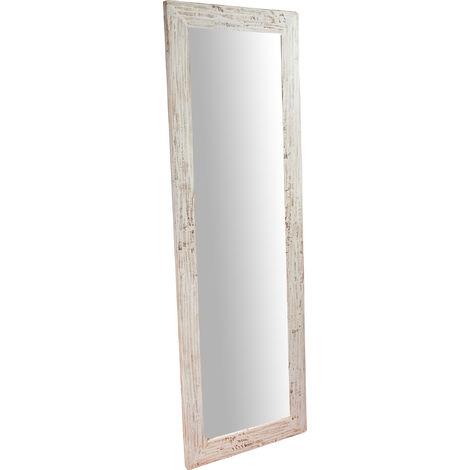 Espejo rectangular de pared de colgar de madera maciza de tilo acabado con efecto crema 60x3x180 cm Made in Italy