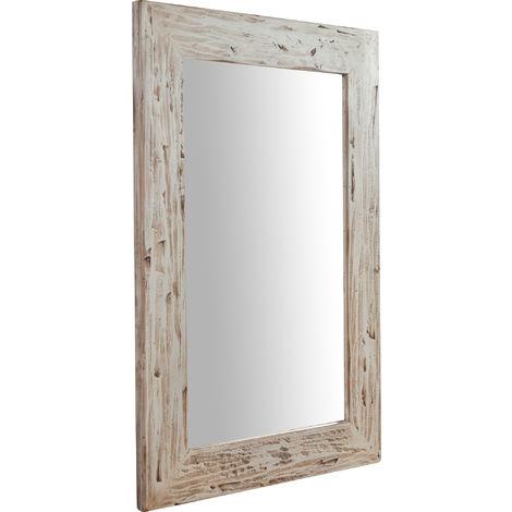 Espejo rectangular de pared de colgar de madera maciza de tilo acabado con efecto crema 60x3x90 cm Made in Italy