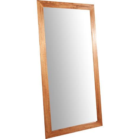 Espejo rectangular de pared de colgar de madera maciza de tilo acabado con efecto natural 100x3x200 cm Made in Italy