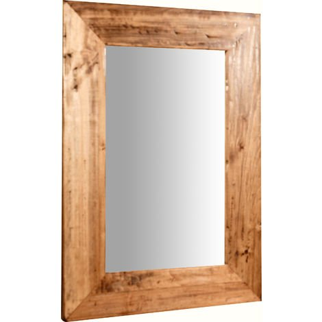 Espejo rectangular de pared de colgar de madera maciza de tilo acabado con efecto natural 50x3x70 cm Made in Italy