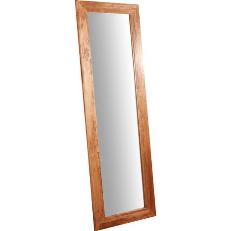 Espejo rectangular de pared de colgar de madera maciza de tilo acabado con efecto natural 60x3x180 cm Made in Italy