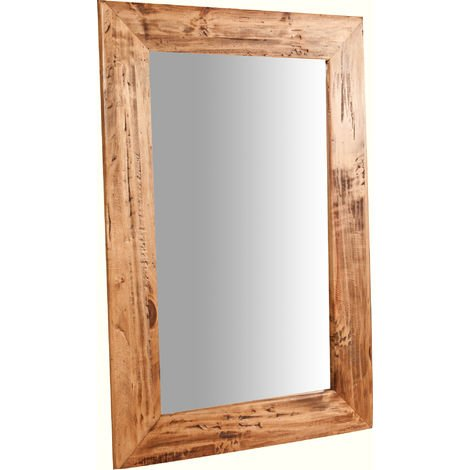 Espejo rectangular de pared de colgar de madera maciza de tilo acabado con efecto natural 60x3x90 cm Made in Italy
