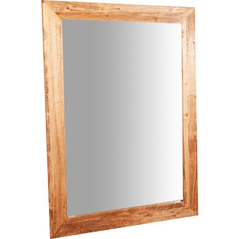 Espejo rectangular de pared de colgar de madera maciza de tilo acabado con efecto natural 90x3x120 cm Made in Italy