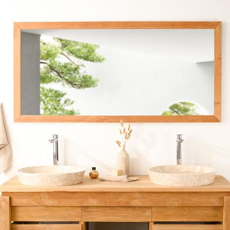 Espejo rectangular grande de teca maciza 145 x 70
