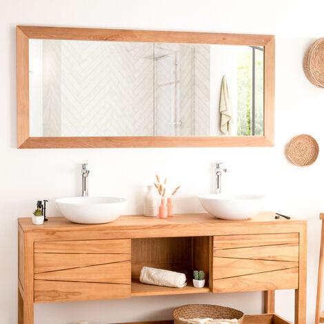 Espejo rectangular grande de teca maciza 160 x 70