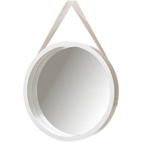 Espejo redondo de pared blanco de PU de Ø 40 cm