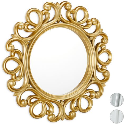 Espejo redondo de pared, Decoración de pasillo o salón, Con marco, ∅ 50 cm, Dorado