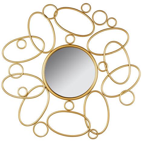 Espejo redondo dorado 80x3x80 cm