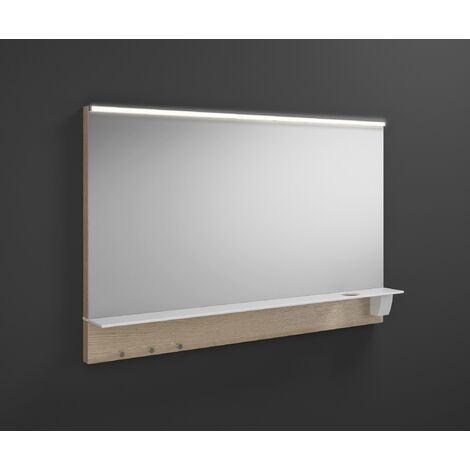 Espejo retrovisor Burgbad Eqio iluminado con luz superior horizontal LED y balda SEZQ120, anchura: 1200 mm, conjunto: Roble Decor Cachemira - SEZQ120F3180