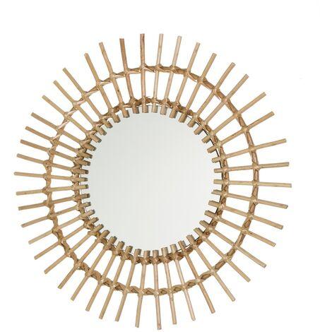 Espejo sol exótico dorado de rattán de 50x50 cm