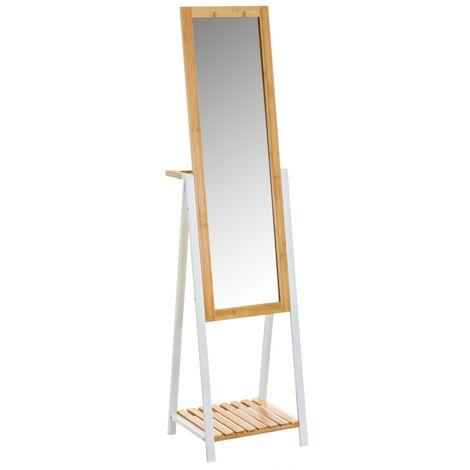 Espejo toallero blanco de bambú de metal de 160x35x41 cm