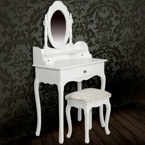 Tocador con espejo y taburete blanco