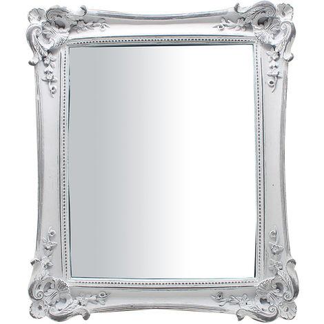 Espejo vertical/horizontal de apoyo y de colgar 27,5x3,5x32,5 cm acabado con efecto blanco envejecido
