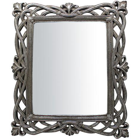 Espejo vertical/horizontal de apoyo y de colgar 31x2x36 cm acabado con efecto plata envejecido