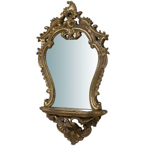 Espejo vertical para colgar con repisa, acabado en oro envejecido (cm: 19 x 17 x 30)