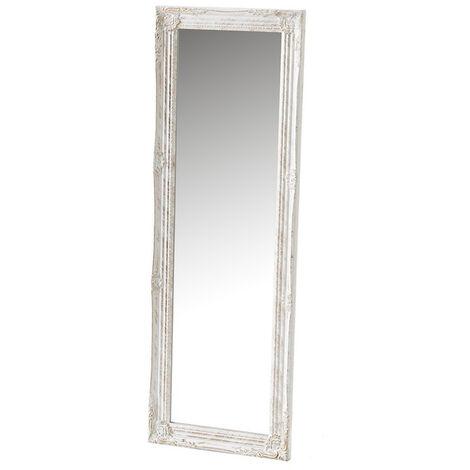 """main image of """"Espejo vestidor grabado blanco y dorado de madera de pino de 120x40 cm"""""""
