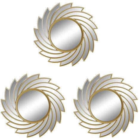 Espejos Pared Decorativos Geométricos, para Dormitorio/Salón. Diseño Moderno y Original. Set de 3 - Hogar y Más Color - Dorado