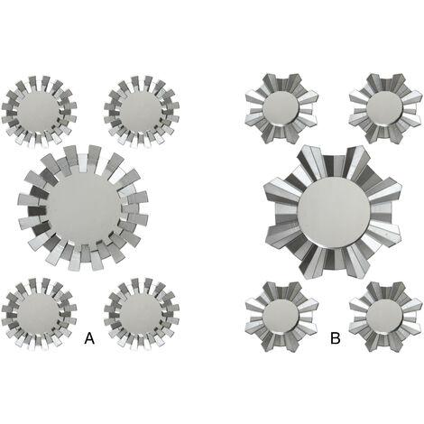 Espejos Pared Decorativos, Redondos, de Resina, color Plateado. Diseño Moderno, con estilo Geométrico. Set de 5 - Hogar y Más B