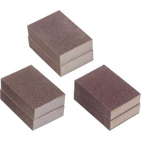 Esponjas de lijado de 6 piezas reutilizables lavables Bloques de lijado Set 60/120/240 de grano grueso / medio / arena fina Bloques Esponjas de Metal Madera