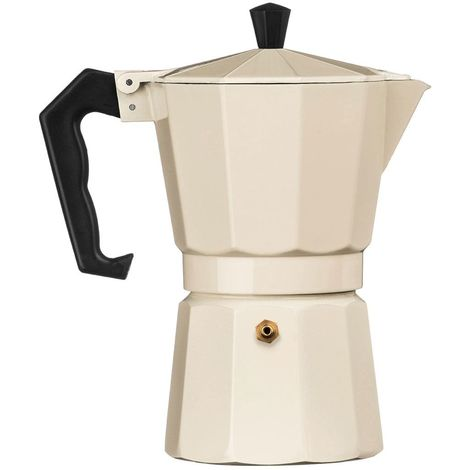Espresso Maker,6 Cup,Cream Aluminium