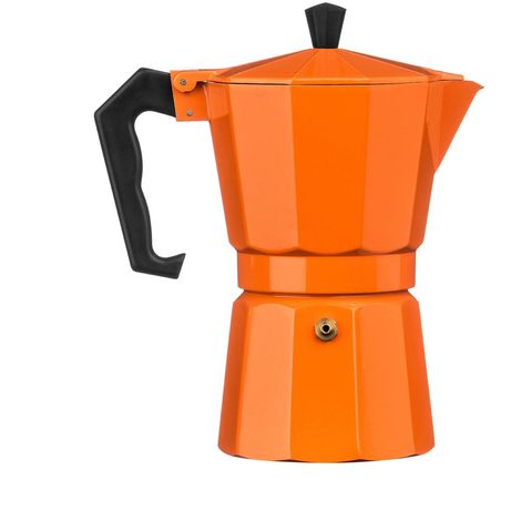 Espresso Maker,6 Cup,Orange Aluminium