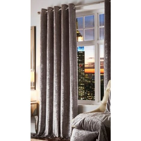 """Esquire Crushed Velvet Eyelet Curtains Pair Ring Top Ready Made Fully Lined Silver 66 x 72"""""""