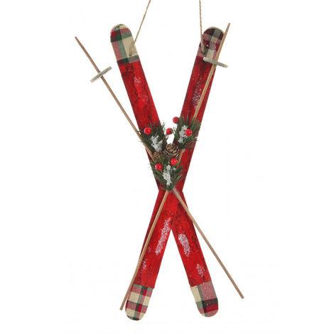 Esquís de Nieve Decoración Colgante de Navidad, Realizado en Madera, Diseño Navideño/Original. 20X50 cm.-Hogarymas-