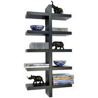 ESSA - Wall Mounted Floating 5 Tier Storage / Display Shelf - Black