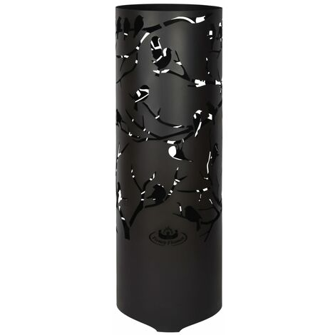 Esschert Design Fire Drum Birds on Twig Carbon Steel Black FF409