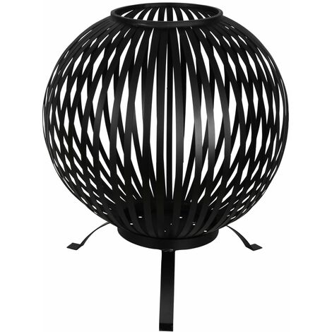 Esschert Design Fire Pit Ball Stripes Black Carbon Steel FF400