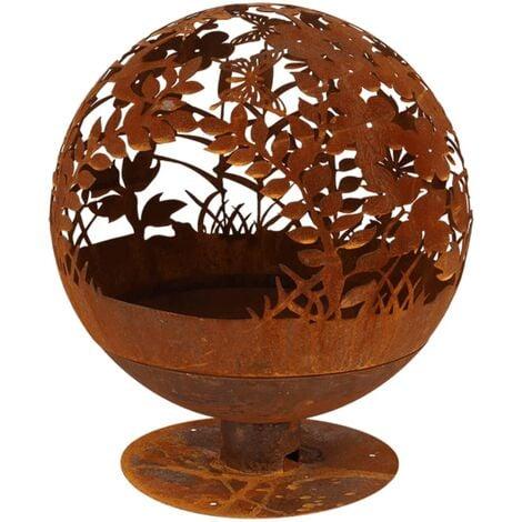 Esschert Design Fire Pit Laser Cut Flowers Rust FF294 - Brown