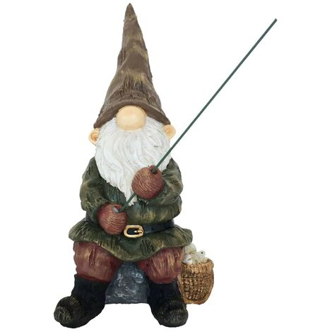 Esschert Design Gnome with Fishing-Rod 12,3x16,6x25,6 cm